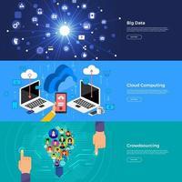 big data de conceito de design plano, computação em nuvem e crowdsourcing. ilustrar o vetor. vetor