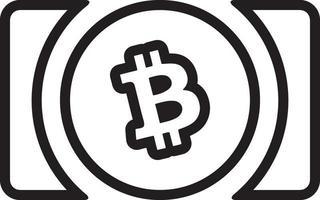 ícone de linha para dinheiro de bitcoin vetor