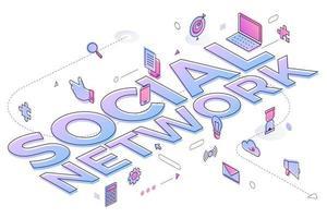 rede social palavra de negócios vetor