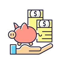 ícone de cor rgb de seguro de proteção de pagamento vetor
