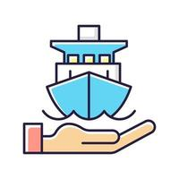 ícone de cor rgb de seguro marítimo vetor