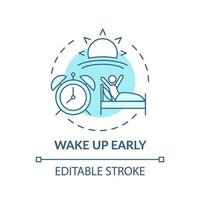 ícone do conceito de acordar cedo turquesa vetor