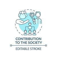 contribuição para o ícone do conceito de turquesa da sociedade vetor