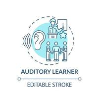 ícone de conceito turquesa para aprendiz auditivo vetor