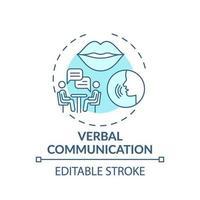 ícone do conceito turquesa de comunicação verbal vetor