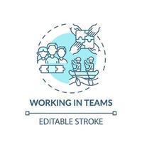 trabalhando em equipes ícone do conceito turquesa vetor