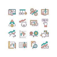 conjunto de ícones de cores rgb do mercado de ações vetor