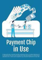 chip de pagamento em uso cartaz modelo de silhueta plana vetor