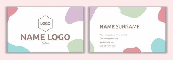 modelo de cartão de visita pronto para imprimir em cor pastel. cartão de visita criativo moderno e cartão de nome, layout de design de modelo limpo simples horizontal. elementos de marca de restaurante, café ou boutique. vetor