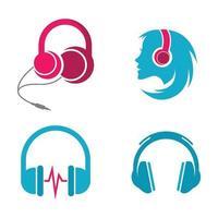 ilustração das imagens do logotipo do fone de ouvido vetor