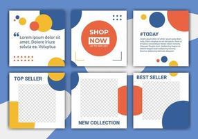 conjunto de designs de modelo de feed de postagem de mídia social. liquidação de verão. promoção de marca de moda. padrão abstrato com pastel azul, amarelo, laranja e branco. ilustração vetorial para ig post