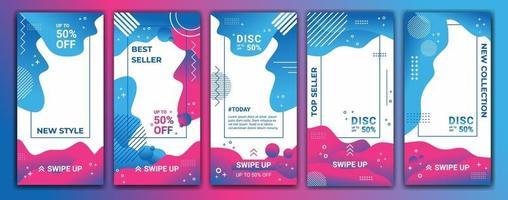 conjunto 5 de fundo de banner de venda de histórias de mídia social, aplicativo móvel, cartaz, folheto, cupom, cartão-presente, história de modelo de smartphone. modelo de design moderno abstrato com gradiente de cor roxo e azul.