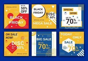 banners de venda de mídia social e coleção de modelo de design de web de anúncios. modelo de plano de fundo com texto e imagens desenhadas por formas coloridas de amarelo e azul com oferta especial. ilustração vetorial vetor