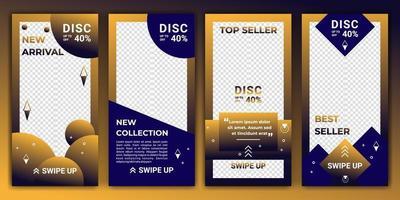 projetar planos de fundo para mídias sociais em gradiente de cor ouro e azul. modelo editável para histórias ig, modelo ig e anúncios de banner da web. desenho abstrato para seu produto de venda. ilustração vetorial