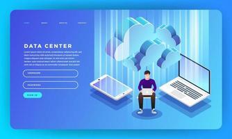 mock-up design site conceito design plano servidor de hospedagem de informações. ilustração vetorial. vetor