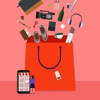 sacola de compras online vetor