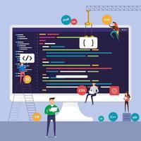 programa de codificação de programador de conceito de design plano. ilustrar o vetor. vetor