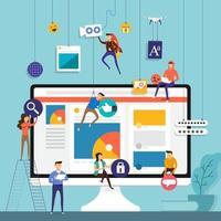 equipe de conceito de design plano trabalhando para a construção de aplicativos de mídia social no celular. ilustrar o vetor. vetor