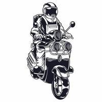 astronauta equitação scooter em ilustração vetorial de estilo monocromático isolado. o homem do espaço do motociclista anda de motocicleta. impressão de camisetas e outro design de roupas da moda. ilustração vetorial infantil
