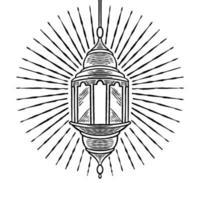 antigo vintage retro ramadã lanterna mão desenhada design. eid mubarak, festa iftar e tema ramadan kareem. lâmpada tradicional islâmica para a celebração do feriado do povo muçulmano. ilustração de desenho vetorial