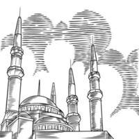 mesquita de esboço de vetor com ilustração de mão desenhada de minaretes isolada no fundo branco. ramadan kareem. feliz novo ano islâmico para a comunidade islâmica. modelo para design de cartão de felicitações