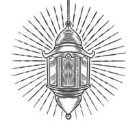mão desenhada antigo ornamento de lâmpada árabe vintage. esboço lanterna de óleo. tema de celebração do festival islâmico isolado no fundo branco. lanterna turca isolada no fundo branco. ilustração vetorial