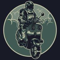 astronauta na motocicleta. o cosmonauta motociclista percorre o universo em uma motocicleta retrô. clube de motociclismo vintage. tema do espaço. t-shirt de vetor, pôster e outros usos de ilustração de design vetor