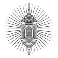 mão desenhada esboço estilo antigo lanterna turca. Tema islâmico do ramadã com elemento de design de lâmpada árabe vintage. celebração do feriado do povo muçulmano isolada no fundo branco. ilustração vetorial vetor