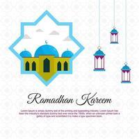 ramadan kareem cartões desenho vetorial design com mesquita e lanterna. na esperança de um festival islâmico para banners, cartazes, planos de fundo, brochuras e vendas isoladas no fundo branco. vetor