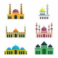 conjunto de vetores de mesquita islâmica. ramadan kareem, happy eid mubarak. ícones desenhados à mão com elementos de design colorido liso. ilustrações de estilo linear moderno isoladas no fundo branco.
