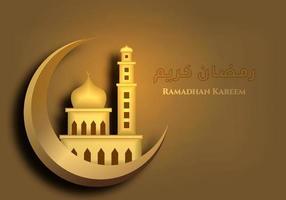 Ramadan Kareem fundo com mesquita em elemento ornamentado modelo luxuoso ouro lua crescente. happy eid fitr, motivo islâmico de eid mubarak na cor dourada. design plano dos desenhos animados. ilustração vetorial