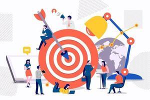 marketing de alvo em equipe vetor