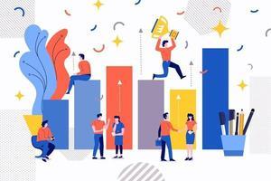 crescimento do negócio em equipe vetor