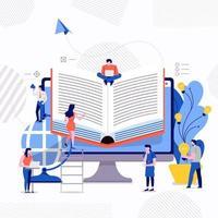 trabalho em equipe estudo e-learning vetor