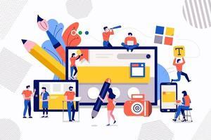 trabalho em equipe web design e desenvolvimento vetor