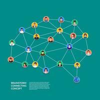 brainstorm de conceito de design plano conectando pessoas. ilustrar o vetor. vetor