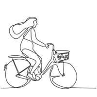 desenho de linha de uma jovem feliz de bicicleta. enérgica mulher bonita andando de bicicleta pela manhã para ir para a escola. atividade diária. conceito de volta às aulas isolado no fundo branco