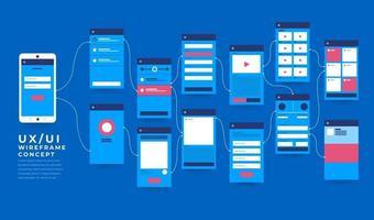 fluxograma ux ui. mock-ups design plano de conceito de aplicativo móvel. ilustração vetorial vetor