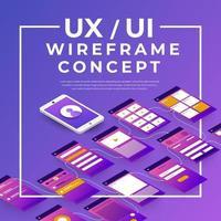 fluxograma ux ui. mock-ups design plano isométrico de aplicativo móvel. ilustração vetorial. vetor