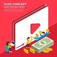 conceito de vlog de design plano. crie conteúdo de vídeo e ganhe dinheiro. ilustração vetorial vetor