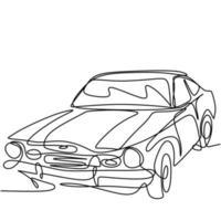um desenho de linha contínuo do velho carro retro vintage auto. clássico automóvel minimalista linha preta arte esboço isolado no fundo branco. transporte de carros antigos. ilustração vetorial vetor