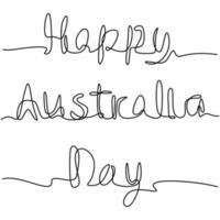 esboço de vetor de uma linha de dia de Austrália. desenho de linha contínua de inscrição manuscrita do feliz dia da Austrália. mão desenhada rotulação design minimalista. ilustração vetorial no fundo branco