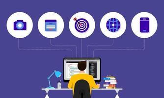 web designer e programador vetor