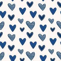 conjunto de elementos bonitos do dia dos namorados. corações de desenho animado azul repetido mão desenhada no fundo branco. impressão infantil para cartões, adesivos, roupas e convites para festas. ilustração vetorial