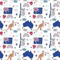 vetor padrão sem emenda de ícones da Austrália. canguru, coala, mapa e bandeira. feriado nacional australiano e férias. viajar para a Austrália. design para página da web, tecido, papel de parede, matéria têxtil, folhetos.