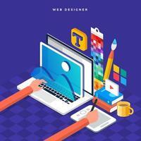 web designer de conceito de design plano isométrico. ilustração vetorial. design de layout do site. vetor