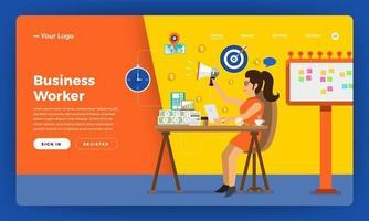 mock-up design site conceito de design plano trabalhador de horas de trabalho no escritório local. ilustração vetorial. vetor