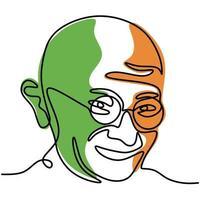 um desenho de linha contínua de mahatma gandhi da figura indiana para o movimento de independência. tema do dia da república da Índia isolado no fundo branco em estilo minimalista. ilustração vetorial