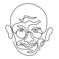 mahatma gandhi, a figura indiana, desenho de uma linha contínua. gandhi é um homem que liderou o movimento de independência da Índia do domínio britânico, que empregou a resistência não violenta. ilustração vetorial