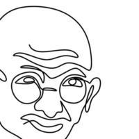 um desenho de linha contínua de mahatma gandhi. uma figura indiana que foi o líder da independência indiana, isolada no fundo branco. dia da república da índia, 26 de janeiro. ilustração vetorial